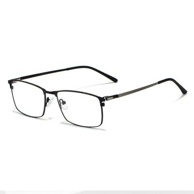 OULE 新款男士商务合金眼镜框 超轻全框方形商务近视眼镜 黑色