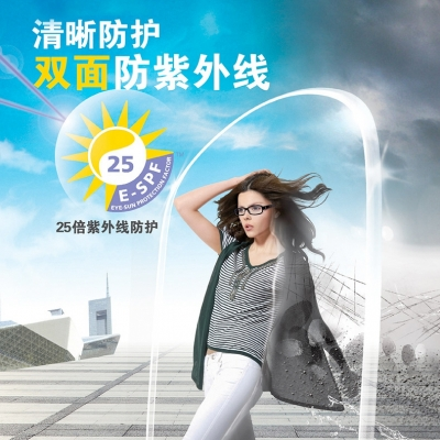 依视路钻晶A3 1.67抗紫外线抗辐射树脂非球面近视眼镜片 两片价