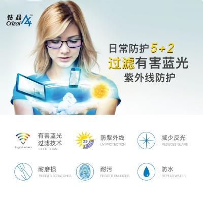 依视路钻晶A3 1.56抗紫外线抗辐射树脂非球面近视眼镜片 两片价