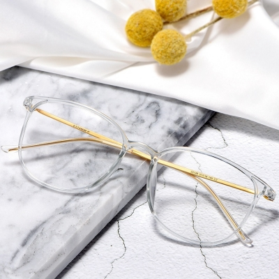 OULE 男女款纯钛近视眼镜架 超轻透明大框圆形防蓝光眼镜 磨砂黑