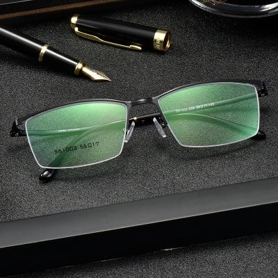 OULE 新款男士商务眼镜架金属半框近视眼镜框 时尚商务眼镜架 枪色