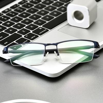 OULE 男士超轻商务纯钛眼镜框 时尚半框近视眼镜架 枪色