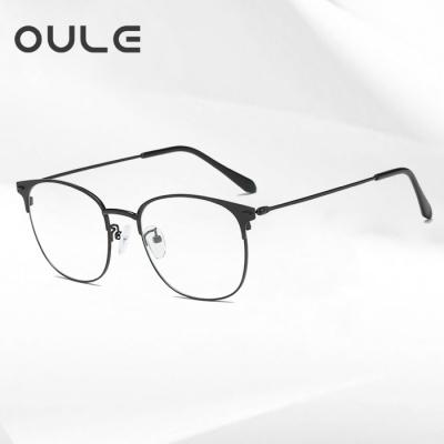 OULE 男女同款金属复古眼镜框 时尚潮流超轻金属眼镜 黑色