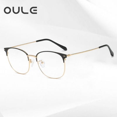 OULE 男女同款金属复古眼镜框 时尚潮流超轻金属眼镜 黑金色