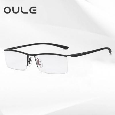 OULE 男士半框商务眼镜框 商务眉线防蓝光近视眼镜架 黑色
