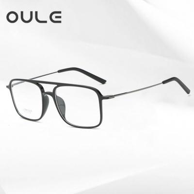 OULE 方形钨碳塑钢双梁眼镜框 男女潮超轻舒适无鼻托眼镜 亮黑色
