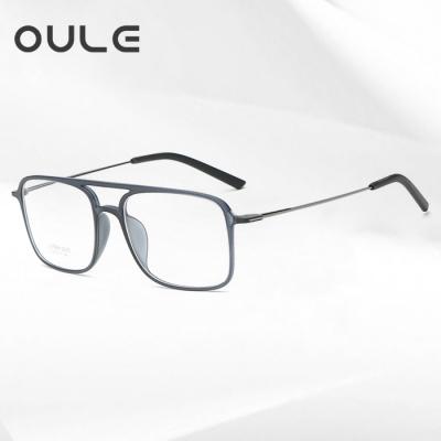 OULE 方形钨碳塑钢双梁眼镜框 男女潮超轻舒适无鼻托眼镜 灰色框