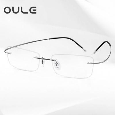 OULE 超轻纯钛无框近视眼镜 时尚方形商务眼镜框 枪色