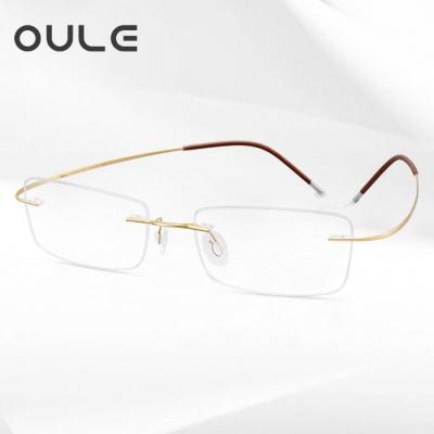 OULE 超轻纯钛无框近视眼镜 时尚方形商务眼镜框 金色