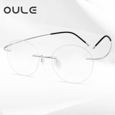 OULE 超轻纯钛无框近视眼镜框 男女复古圆形眼镜架 银色