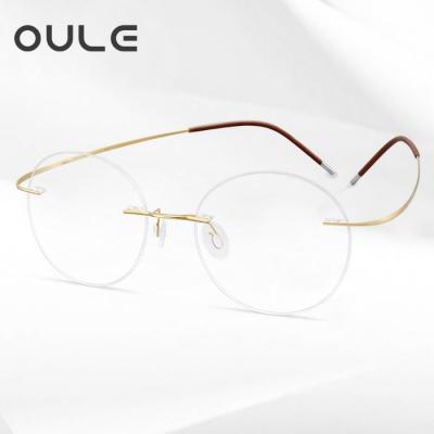 OULE 超轻纯钛无框近视眼镜框 男女复古圆形眼镜架 金色