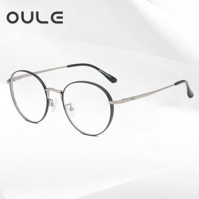 OULE 粗边框圆眼镜框 男女同款可配高度厚边近视眼镜架 黑枪色