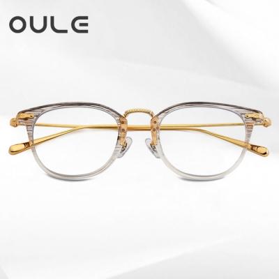 OULE 男女同款防蓝光近视眼镜架 超轻纯钛金丝近视手工眼镜 金色