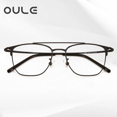 OULE 超轻复古高端纯钛近视眼镜 男女同款韩版文艺眼镜框 黑色