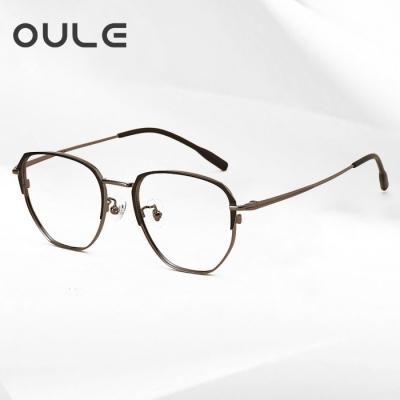 OULE 超轻高端纯钛复古眼镜框 男女同款网红圆脸近视眼镜 黑配枪