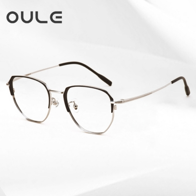 OULE 超轻高端纯钛复古眼镜框 男女同款网红圆脸近视眼镜 黑配银
