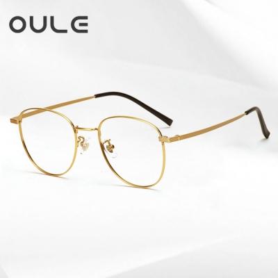 OULE 超轻纯钛复古近视眼镜 男女同款高端纯钛圆框眼镜架 金色