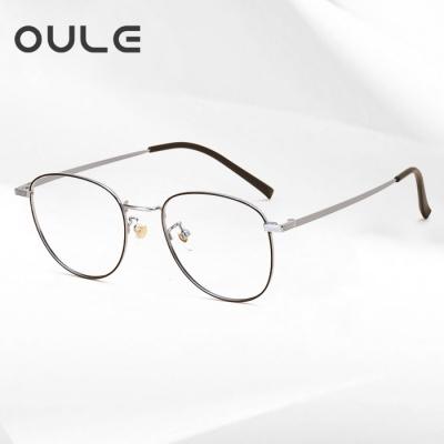OULE 超轻纯钛复古近视眼镜 男女同款高端纯钛圆框眼镜架 黑银色