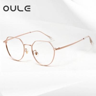 OULE 超轻纯钛近视眼镜框 男女同款厚边潮流多边形钛架 玫瑰金