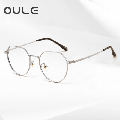 OULE 超轻纯钛近视眼镜框 男女同款厚边潮流多边形钛架 银色