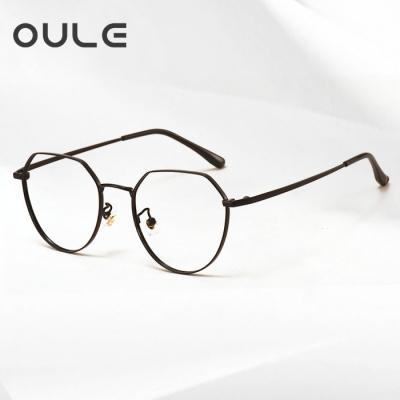 OULE 超轻纯钛近视眼镜框 男女同款厚边潮流多边形钛架 黑色