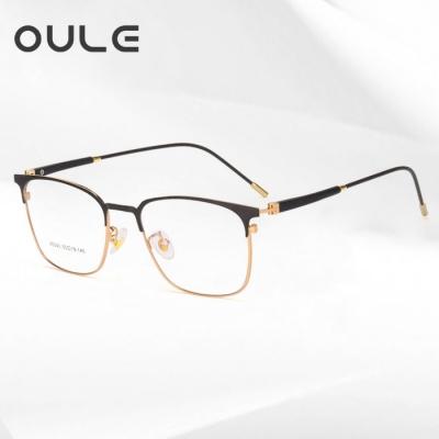 OULE 新款商务金属眼镜框超轻钛合金高档双色近视眼镜 黑金色