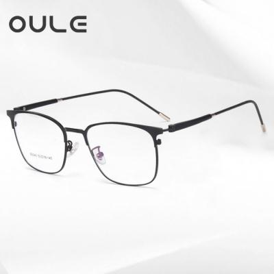 OULE 新款商务金属眼镜框超轻钛合金高档双色近视眼镜 黑色