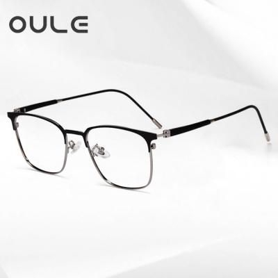OULE 新款商务金属眼镜框超轻钛合金高档双色近视眼镜 枪色