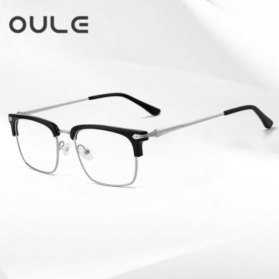 OULE 男女同款经典复古板材眼镜框 大脸时尚网红大框眼镜 黑银色