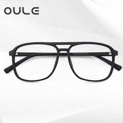 OULE 男女防蓝光近视眼镜框 韩版复古方形双梁近视眼镜 黑色