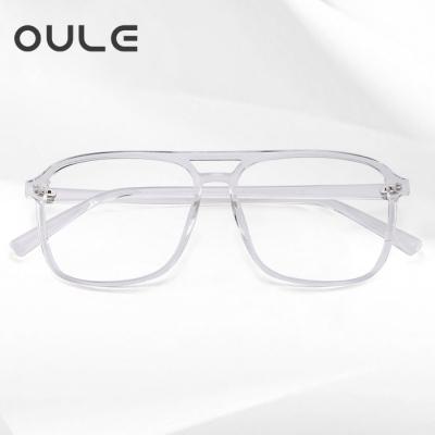 OULE 男女防蓝光近视眼镜框 韩版复古方形双梁近视眼镜 透明色