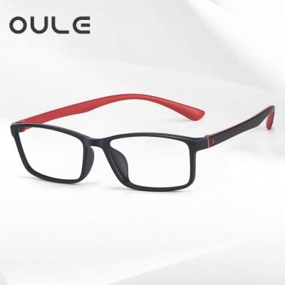 OULE 男女近视全框无金属无螺丝眼镜 全框TR90方框金属眼镜 黑红