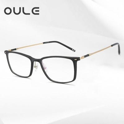 OULE 超轻男女士眼镜框 防蓝光文艺复古圆形近视眼镜架 黑金色