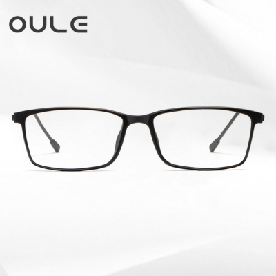 OULE 超轻全框近视眼镜男 时尚细边男女全框近视眼镜 黑色