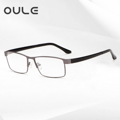 OULE 全框超大眼镜框 大脸眼镜架钛合金TR腿舒适超轻眼镜 枪色