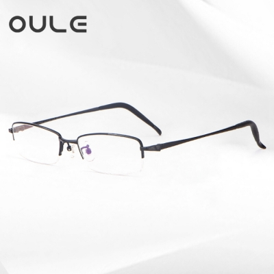 OULE 新款眼镜男纯钛眼镜框  超轻商务半框眼镜架 黑色