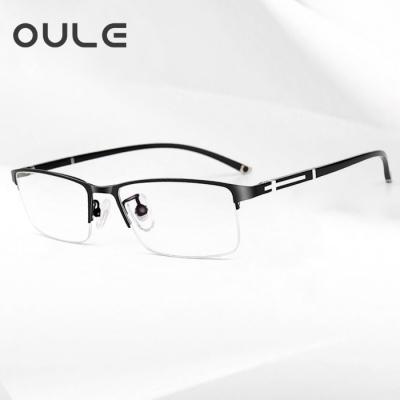 OULE 新款高档男士商务眼镜框 防辐射抗蓝光眼镜 半框黑色