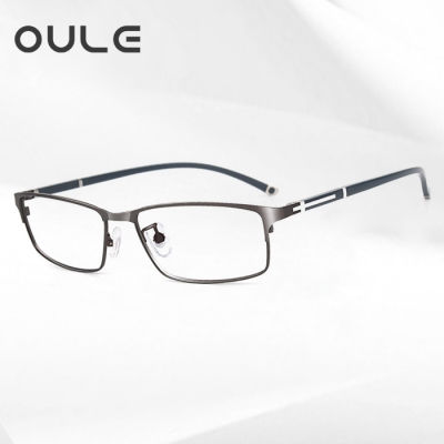 OULE 新款高档男士商务眼镜框 防辐射抗蓝光眼镜 全框枪色