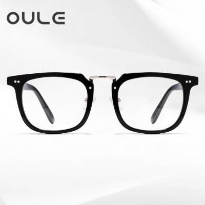 OULE 新款板材余文乐同款眼镜 尚潮复古透明眼镜框 亮黑色