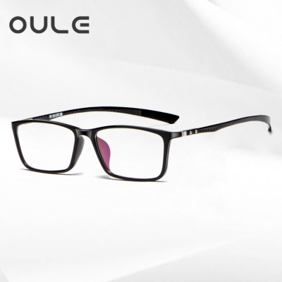 OULE 新款炭纤维眼镜架 超轻商务舒适全框眼镜框 黑框黑腿