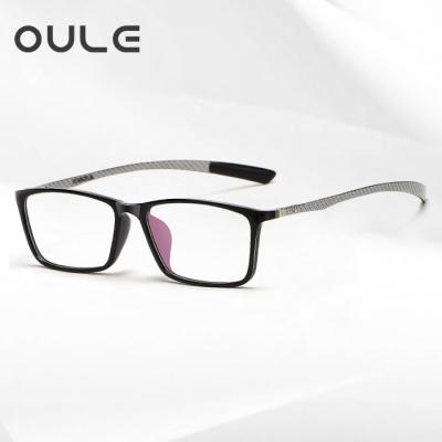 OULE 新款炭纤维眼镜架 超轻商务舒适全框眼镜框 黑框银腿