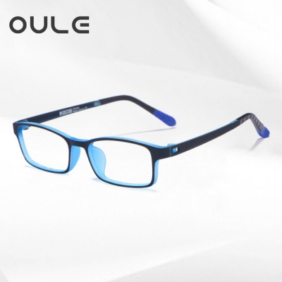 OULE 青少年防蓝光近视眼镜框 超轻TR90双色防辐射眼镜 黑蓝色