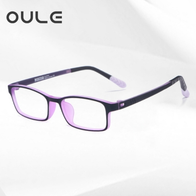 OULE 青少年防蓝光近视眼镜框 超轻TR90双色防辐射眼镜 黑紫色