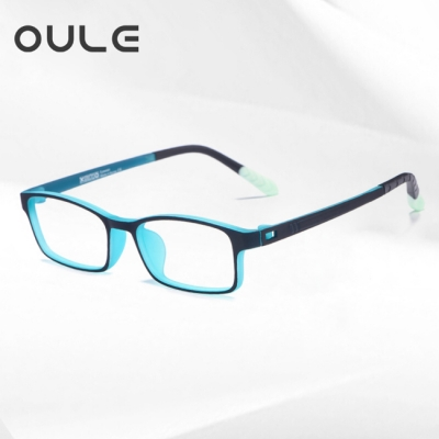 OULE 青少年防蓝光近视眼镜框 超轻TR90双色防辐射眼镜 黑青色