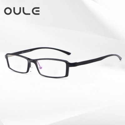 OULE 超轻航空铝镁合金近视眼镜 小框全框方形眼镜架 雅典黑