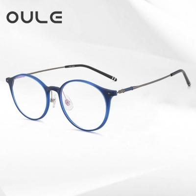 OULE 超轻钛合金男女复古眼镜 时尚圆形防蓝光近视眼镜 蓝灰色