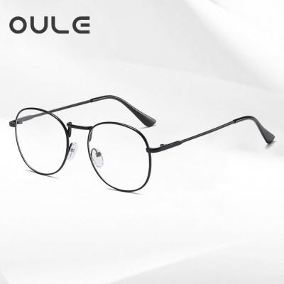 OULE 新款复古椭圆全框近视眼镜 男女防蓝光近视眼镜框 黑色