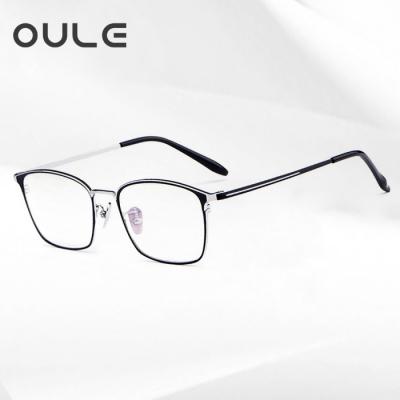 OULE 纯钛复古方框韩版近视眼镜 男女款防蓝光全框眼镜框 黑银框