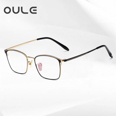 OULE 纯钛复古方框韩版近视眼镜 男女款防蓝光全框眼镜框 黑金框