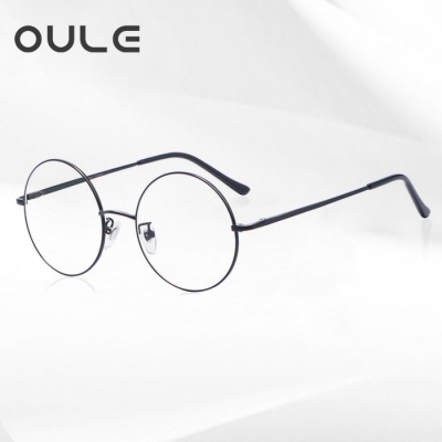 OULE 男女经典圆形复古眼镜框 文艺潮流全框金属合金眼镜架 黑色中号